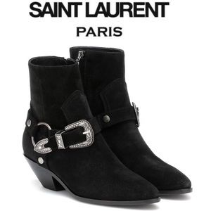 St Laurent West Suede Buckle Harness Ankle Boot 37